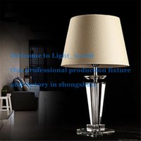 Wholesale Limited Time Discount Modern Concise K9 Crystal Table Lamp Flax Shade Living Room Hotel Bedroom Bedside Lamp