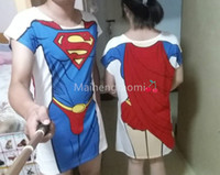 Wholesale Women Men Funny Sexy Printed Super Superman O Neck Short Sleeve Tops Tee T Shirt Lovers Clothes Beach Dresses