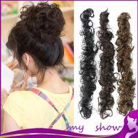 Al por mayor 5-Colors pelo rizado Bun moños de las mujeres Herramientas de peluquería de la alta calidad del bollo postizo Señora cortes de pelo corto del pelo Piezas Bun