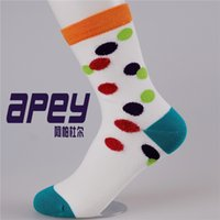 colorful socks - APEY Breathable Cotton women socks with feather yarn female dot socks colorful cute girls socks in british style