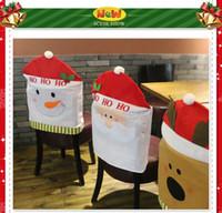 Wholesale New Christmas Decorations Restaurant chair Cover Ornament Christmas Ornaments Christmas hat chair Cover Santa Claus chair Cover Free Shippin