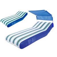 beach chaise - Water floating row inflatable floating bed water beach chaise lounge air cushion air bed belt sun shelter toys water