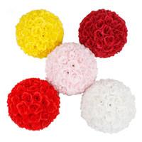 Wholesale 2PCS cm Diameter Silk Rose Flower Ball Artificial Bouquet Kissing Ball for Wedding Centerpiece Decoration Color USA