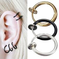 Wholesale 6Pcs Fashion Piercing Jewelry Ear Clip On Hoop Boby Nose Lip Ear Piercing Stud Earrings Punk