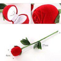 Wholesale 2016 Hot Red Rose Jewelry Box Wedding Ring Gift Case Earrings Storage Display Holder