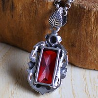 bag lady jewellery - Jimei silver S925 silver jewelry exquisite Garnet Pendant New Ladies section folk style Thai silver jewellery bag mail