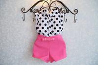 Cheap summer girls clothing sets girl baby clothes polka dot coat + pink pants baby clothing