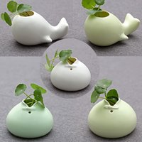 Wholesale Creative ceramic small vase table flowers inserted flower ware ornaments culture personality tow shaped