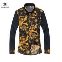 Wholesale 2016 New Arrival Dress Shirts Mens Plus Size XL Brand Luxury Shirt Men Business Flower Printed Men s Shirt Marcas Autumn Style