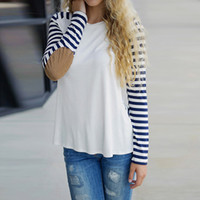 Wholesale Vintage Womens Striped Long Sleeve Patchwork Shirt Ladies Girls Casual Loose Autumn Elbow Patch Crew Neck Blouse T Shirt