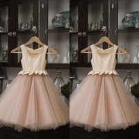 Wholesale Real Image Baby Pink Stain And Tulle Flower Girls Dresses For Weddings Cheap Jewel Peplum Ankle Length Birthday Party Gowns EN9289