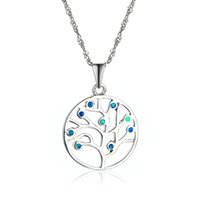 Wholesale Opal Style Tree Of Life Pendant Silver Fit Pandora Style Necklaces For Women Jewelry No50 lw FP451