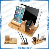 bamboo usb tablet - Handmade Bamboo Wood USB Charging Dock Station Bracket Desk Holder Cradle Stand For Apple Watch iPhone iWatch iPad Smartphones and Tablets