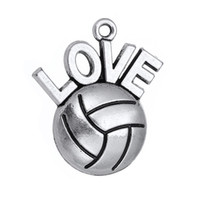Wholesale Antique Silver Plated I Love Volleyball Necklace Pendant Sports Fan Charms DIY Jewelry