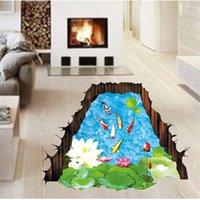 vinyl floor tile - Ceative D Fishpond Floor Sticker Novelty Living Room Tile Decal Removable Goldfish Lotus Sticker Waterproof Home Decoration