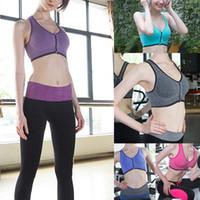 Wholesale Womens Lace Sport Bra Zipper Stretch Lingerie Yoga Essential Crop Top Vest Padded Race Back Top Plus Size Bras