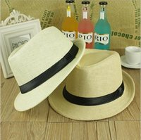 Wholesale Han edition tide male ms summer jazz cap sun hat straw hat English lovers beach hat