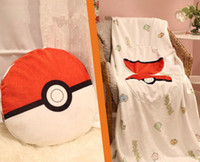 ball blanket - Children In Poke Ball Soft Plush Pillow Quilt Poke Cartoon Plush Cushion Blanket Pokeball Throw Pillow Quilt LJJP283