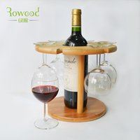 bamboo wine racks - Decorative bamboo Wooden Wine Rack Bottle glasses stemware Holder Countertop Storage Kitchen Display Shelf accessories set
