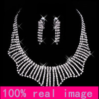 alloy images - 15034 New Sparkling Silver Plated Crystal Rhinestone Real Image In Stock Bridal Necklace Earrings Jewellery Sets For Evening Party