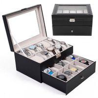 antique jewelry display case - 20 Slot Watch Box Leather Display Case Organizer Top Glass Jewelry Storage Black