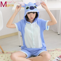 Wholesale New Summer Adults Cotton Onesie Pajamas Cute Cartoon Animal Blue Pink Stitch Pijamas Cosplay Costume Short Sleeve Sleepwear