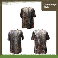 Wholesale Outdoor Equipments Breathable T shirt Army MiIitary Bionic Camouflage Pattern Short Sleeve Fishing Hunting Base layers