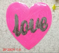 Wholesale Garment accessories beads embroidered heart shaped patch size Sequin cloth clothes T shirt DIY fashion LOVE heart CM patch