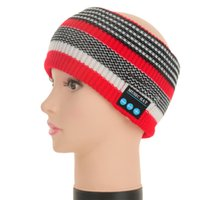 band beanies - Multicolor Jacquard Sport Music Hats Headwear Handsfree Bluetooth Hats Warm Wool Outdoor Knitted Earphone Wireless Head Band LH TD01