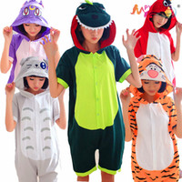Wholesale Short Pyjamas Women - 2015 Totoro Panda Doraemon Volwassen Unisex Animal Rompertjes Zomer Stijl Korte Mouwen Katoen Hooded Pyjama Pijamas Cosplay Vrouwen Women
