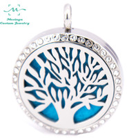 Wholesale 10pcs mesinya crystal family tree of life mm Aromatherapy Essential Oils surgical S Steel Perfume Diffuser Locket Necklace