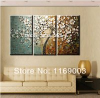 acrylic paintings trees - 3 panel wall art canvas tree acrylic decorative pictures hand painted decoraion painting oil paintings modern flower on canvas