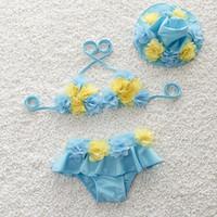 bathing caps with flowers - Cute Children Girls Bikini Lace Flower Triangle Bathing Suit With Swim Cap Baby Kids Summer Beach Swimwear