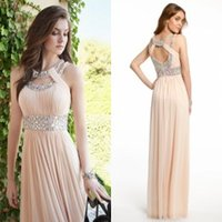 Wholesale 2016 Bridesmaid Dresses Cheap Prom Dresses Double Cleo Collar Neckline Open Back Long Evening Gowns Maid of Honor Dresses with Crystals