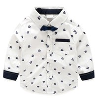 Wholesale Fashion boy white shirt with sailing boats overall printings one removable bow front pocket at the chest