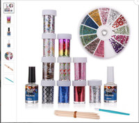 Wholesale 10 Roll Star Transfer Paper Adhesive Glitter Top Coat Nail Art Set