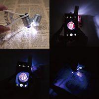 Compra Led magnifier-9882W mini probador de dinero 60x bolsillo microscopio lupa de cristal de lupa UV luz con clip al por mayor