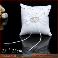 Wholesale 15 cm Fashion White Satin Bridal Wedding Ceremony Ring Bearer Pillow Cushion Crystal Double Heart Ring Pillows