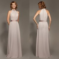 Wholesale The New Arrival Mark Lesley Sheath Bridesmaid Dresses Long Chiffon High Neck Covered Button Floor Length Custom Made Evening Gowns