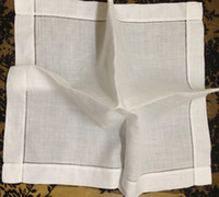 Wholesale Home Textile Table Napkin quot x20 quot White Linen Table Napkin with Hemstitch border edges Perfect Embroidered For Party Home napkins