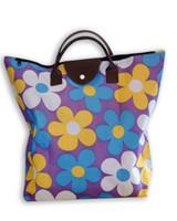 Pliante 600D imperméable sac oxford imprimé de fleurs femmes durables Zakka / épicerie PU sac de transport fourre-tout