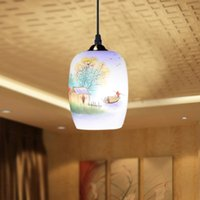art deco porcelain - Antique Design Porcelain Lamps LED Lotus Vintage V E27 Eggshell Ceramic Kitchen Restaurant Hotel Pendant Lights