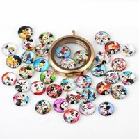 Wholesale 20pcs Cute Mickey Minnie Floating Locket Charms Glass Mouse Charms For Glass Locket