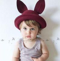 baby boy black fedora hat - INS Children Wool Hat Cap Winter Fashion Baby Girls Rabbit Hats Dome Cap Black Khaki Hat Fedoras Kids Round Caps Top quality L251