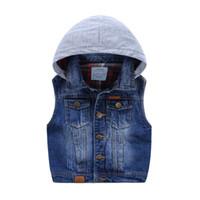 baby boy denim vest - 2016 Kids Boys Soft Wash Denim Coat Cowboy Casual Vest Outwear Autumn Waistcoat Baby Outer Vest