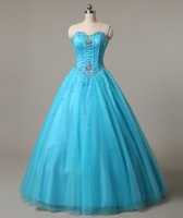 Wholesale New Sweetheart Blue Quinceanera Dresses Ball Gown Tulle Beaded Crystal Sweet Dress Lace Up Floor Length Pageant Prom Party Gown Stock Q14