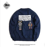 american hong kong - Hong Kong fashion brand cotton round neck plus velvet embroidery cartoon robot lovers sweater male American street tide