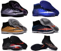 Wholesale High top superfly cr7 kids football boots MercurialX Proximo Street TF girl soccer shoes botas de futbol boy youth soccer boots Size US3