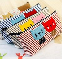 Wholesale 2016 New Cute Cute Cat Kitty Animal Pencil Cases Bags Four Colors Pen bags Purse Organizer Office School Supplies