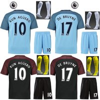 Wholesale 16 man city the full set soccer jersey with socks kun aguero DE BRUYNE STERLING home blue and away football jersey with league patches